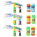 Theefun 3 Pack Seifenblasenpistole Soundeffekte Led Lichteffekte mit Batterien und Seifenlösung