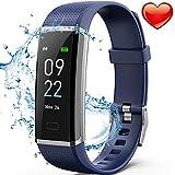 Delishee Fitness Armband Wasserdicht IP67 Fitness Trackers mit Pulsmesser Aktivitätstracker Kalorienzähler, Pulsuhren,Schrittzähler, Vibrationsalarm Anruf SMS für iOS Android Handy,Blau