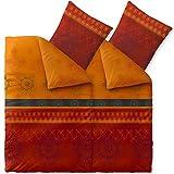 CelinaTex Fashion Bettwäsche 135 x 200 cm 4teilig Baumwolle Legra Blumen Rot Orange Grau