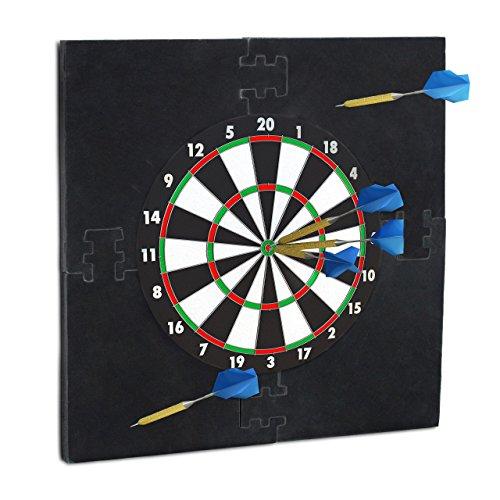 Relaxdays Dartscheibe Schutz 'R6', Dart Auffangring, 45 cm Durchmesser, Catchring, EVA, HxBxT: 71 x 71 x 3 cm, schwarz
