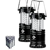 Etekcity Campinglampe Camping Laterne zusammenklappbar Faltbar 30 LEDs Batteriebetrieb Außenleuchte für Wandern Camping, Notfall, Ausfälle Nachtlicht, tragbare Gartenlaterne, LED Camping Beleuchte schwarz (2 er)
