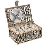 [casa.pro] Picknickkorb für 2 Personen - Picknick-Set mit Kühltasche inkl. Geschirr, Besteck, Korkenzieher und Gläser (grau)