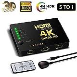 HDMI Switch 4K, FAERSI 5 Ports HDMI Switcher Splitter Unterstützung 4K@30Hz/2K/1080P/3D mit IR Fernbedienung 5 Eingang 1 Ausgang