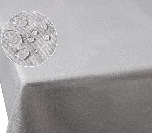 HOLISTAR 0800024 Tischdecke Leinendecke Leinenoptik Wasserabweisend Lotuseffekt Tischtuch Fleckschutz pflegeleicht abwaschbar schmutzabweisend Eckig 130x160 cm Hellgrau
