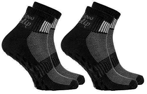 2 Paar schwarze Anti-Rutsch-Socken mit ABS-System, ideal für solche Sportarten,wie Joga,Fitness,Pilates,Kampfkunst,Tanz,Gymnastik,Trampolinspringen.Größen von 42 bis 43,atmende Baumwolle