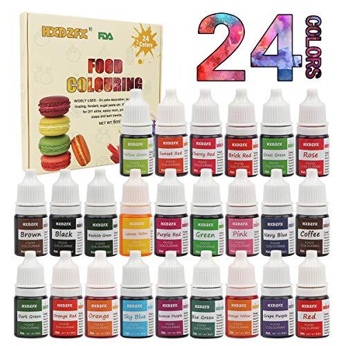 Lebensmittelfarbe flüssig Set, 24 lebensmittel farbenzum für alle Backen und Dekorieren, hochkonzentriert zuckerfrei für Kuchen Keks Macaron Fondant Getränken (24 x 6ml)