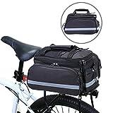 Beaspire Fahrrad Satteltasche Gepäcktasche Gepäckträger Tasche Rucksack Seitentasche mit wasserfester, reflektierender und Regenschutzdeckel