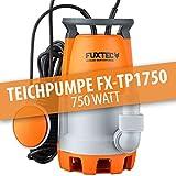 FUXTEC Teichpumpe FX-TP1750 Schmutzwasserpumpe Tauchpumpe 750 Watt, max. 12000 l/h, max. 7 m Förderhöhe, Fremdkörper bis 30 mm, stufenloser Schwimmerschalter