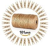 Garten Kordel mit 100 Wäscheklammern Holz 3,5cm Absofine Bastelschnur Jute Kordel 100M Natur Juteschnur Clothespins Verpackung Gastgeschenk