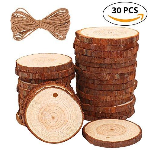 Fuyit Holzscheiben 30 Stücke Holz Log Scheiben 6-7cm und Frei 10 mt Nnatürliche Jute Seil für DIY Handwerk Holz-Scheiben Hochzeit Mittelstücke Weihnachten Dekoration Baumscheibe (30st 6-7cm)