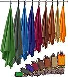 Fit-Flip Microfaser Handtuch – federleicht, Ultra saugstark und schnelltrocknend – (1x 200x100cm + 1x Tasche, Orange)