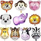 JWTOYZ Folienballon Tiere, 10 Stück Luftballons Tiere, Folienballon Kindergeburtstag, Luftballons Dschungel Safari Tiere Ballon
