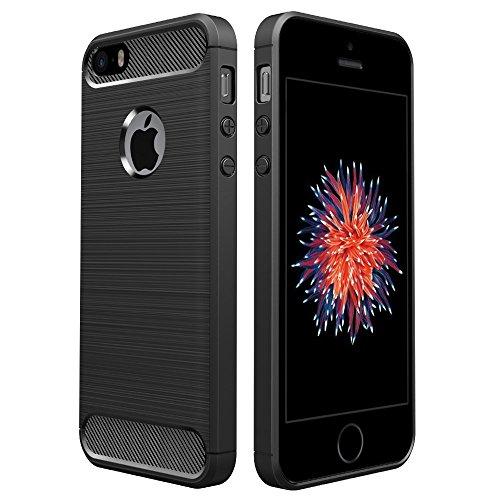 [Neue Version]iPhone SE Hülle Schwarz,Simpeak Premium Weiche Karbonfaser Elastisch Schützendes Rückseiten-Case für iPhone SE 5S 5[Fallschutz] [Rutschfest] [Kratzfest]