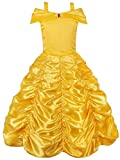 JerrisApparel Mädchen Belle Kostüm Prinzessin Kleid Drop Shoulder Cosplay Kostüm (Gelb, 7-8 Jahren)