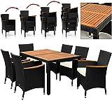 Deuba 6+1 Poly Rattan Sitzgruppe 7cm dicke Sitzauflagen creme Holztisch und Holz Armlehnen Stühle stapelbar - Terassenmöbel Gartengarnitur Sitzgarnitur Garten Möbel Set