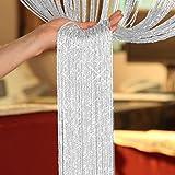 TRIXES weiß Fadenvorhang im Tautropfen Design als Raumteiler Fliegenschutz oder als festliche saisonale Dekoration 90cm x 200cm - Vorhänge
