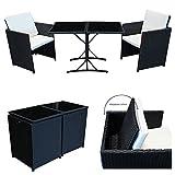 POLY RATTAN Sitzgruppe Essgruppe Set Farbwahl - Cube Sofa-Garnitur Gartenmöbel Lounge Farbwahl (4er Garnitur, Braun)