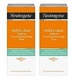 Neutrogena Visibly Clear Tägliche Feuchtigkeitspflege Ölfrei / Klärende Feuchtigkeitscreme mit Salicylsäure für das Gesicht für Tag und Nacht / 2 x 50ml