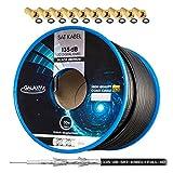 135dB 50m HB DIGITAL Koaxial SAT Kabel 5-fach geschirmt Schwarz für Ultra HD 4K DVB-S / S2 DVB-C und DVB-T BK Anlagen + 10 vergoldete F-Stecker SET Gratis dazu