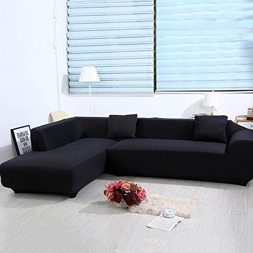 ele ELEOPTION Sofa Überwürfe Elastische Stretch Sofa Bezug 2er Set für L Form Sofa inkl. 2 Stücke Kissenbezug (Schwarz)