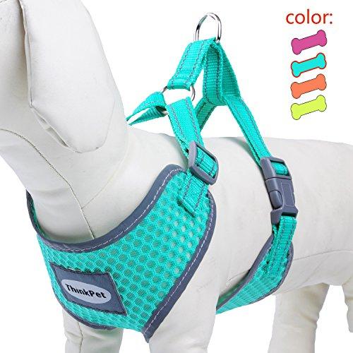 ThinkPet Atmungsaktives Hundegeschirr aus Weichem Air Mesh Gewebe, reflektierend,Mittelgroß, Neon-Grün