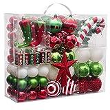 Victor's Workshop Weihnachtskugeln 100tlg. Plastik Christbaumkugeln Set Christbaumschmuck für Weihnachtsbaum Weihnachtsdeko Hausdeko Herrliches Weihnachten Thema Rot Grün Weiß MEHRWEGVERPACKUNG