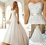LUCKY-U Brautkleider Hochzeitskleid Nicht Ärmel Spitze Appliques Braut Eine Linie Hochzeitskleid Party Brautkleid, US 14