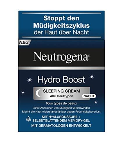 Neutrogena Hydro Boost Sleeping Cream - Nachtcreme mit Hyaluron-Gel-Komplex und selbstglättender Memory-Gel Formel - 50ml
