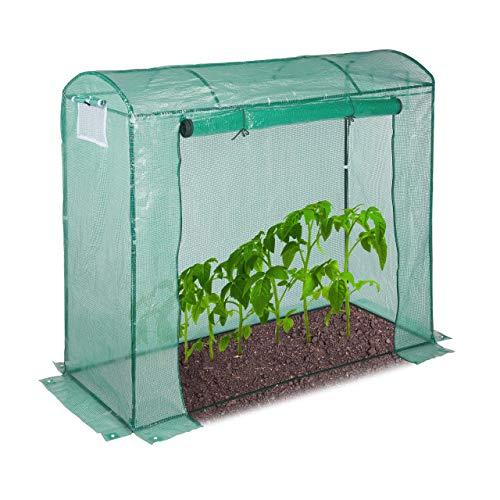 Relaxdays Tomatengewächshaus, rundes Dach, mit Tür, Tomatenhaus aus Stahl und Folie, UV-beständig, HBT: 170x80x200, grün
