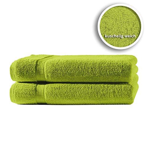 one-home 2er Set Gästetücher Handtücher Duschtücher Badetücher Frottee 100% Baumwolle, Farbe:Grün, Produktart:Gästetücher 30x50 cm