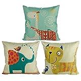 Luxbon 3er Set Cartoon Elefant Katze Giraffe Muster Kissenbezug Lendenkissen Wurfkissenbezug Pillowcase Hause Auto Cafe Deko 18 x 18 ''