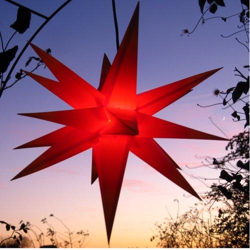 Mit LED Außenstern Stern rot Stern für draußen, ca. 55 cm, wetterfest, im Set mit Kabel, Anleitung, inklusive LED-Leuchtmittel (StaRt-NDL-DUH-E14-C3,5W) 104 SMD Dioden, 3,5W