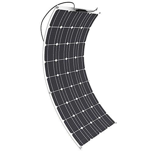 GIARIDE 100W 18V 12V Solarmodul Solarpanel Monokristallin Solarzelle Photovoltaik Solarladegerät Solaranlage Flexibel mit MC4 Ladekabel für Wohnmobil, Auto, Boot 12V Batterien