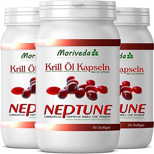 Krillöl Kapseln 270, 100% reines NEPTUNE Premium Krill Öl - Omega 3,6,9 Astaxanthin, Phospholipide, Choline, Vitamin-E - Markenqualität von MoriVeda (3x90)