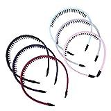 Frcolor Kunststoff Haarreifen Zähne Kamm Haar Hoop für Mädchen Frauen 6pcs(Zufällige Farben)