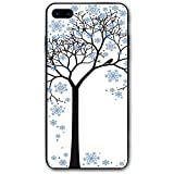 ZZHOO Compatible with iPhone 7/8 Plus Case, Barren Tree Silhouette with Snowflake Leaves Hand Drawn Interpretation Snow Season,Rubber Anti-Scratch Shock Absorption Protective Phone Cover