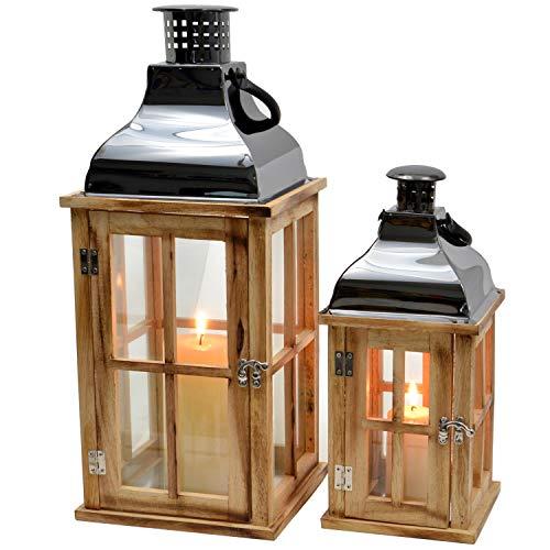 2er Set Laternen aus Holz 46cm/31cm Shabby Landhaus Vintage Hochzeitsdeko