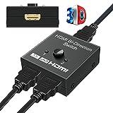 HDMI Switch & HDMI Splitter, GANA HDMI Umschalter Bidirektionaler 2 IN 1 OUT oder HDMI Verteiler 1 IN 2 OUT unterstützt 4K 3D 1080P HDMI Schalter für HDTV / Blu-Ray player / Fire Stick / Xbox / PS3