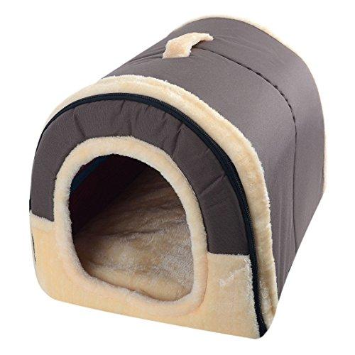 Freahap L,M,S Hundebett Katzenbett Hundehöhle Hundehütte Tragbar Outdoor/Indoor (M, Braun)