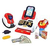 Spielkasse Kreditkartenleser Rollenspiel Spielkasse mit 18 Stück Zubehör Kaufladen Kasse und Klingt Supermarktkasse Scanner Geburtstags Geschenke für 3 Jahre Mädchen Junge