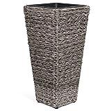 Vanage Kunststoff Pflanzkübel in grau - Blumenkübel für drinnen und draußen - Blumentopf für Blumen und Pflanzen - Pflanzenkübel perfekt für Garten, Terrasse und Balkon geeignet