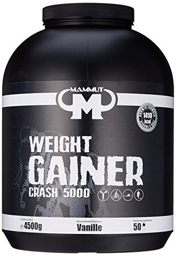 Mammut Weight Gainer Crash 5000 Vanille Kohlenhydrate Masseaufbau Kreatin, 4500 g Dose
