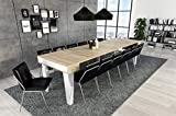 Home Innovation- Nordische KL- Ausziehbarer Konsole, Esszimmertisch und Wohnzimmertisch, rechteckig, Skandinavischer Stil, bis 300 cm, Oberfläche Mattweiß/Gebürstete Eiche. Bis zu 14 Sitzplätze.