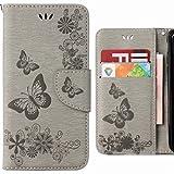 Ougger Hülle Huawei P20 Lite Handyhüllen, Tasche Leder Schutzhülle Schale Weich TPU Silikon Magnetisch-Stehen Flip Cover Tasche Huawei P20 Lite mit Kartensteckplätzen, Schmetterling Streifen (Grau)