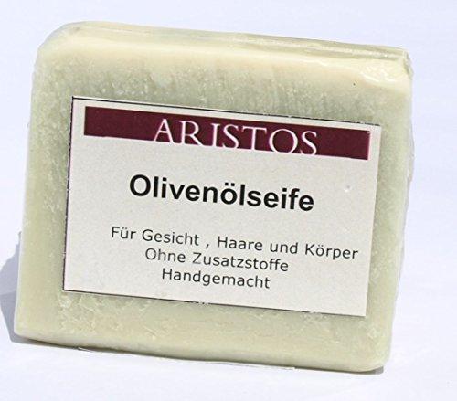 ARISTOS vegane Olivenölseife (Blockseife aus reinem Olivenöl) für Haare Gesicht und Körper 'Natur' handgemacht aus Griechenland (100g)