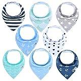 BabyJoon Dreieckstücher in verschiedenen unisex Designs [8er Set] - Lätzchen in Geschenkverpackung - Chemiefreie Baby Halstücher - Spucktücher mit Druckknopf