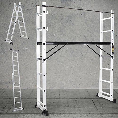 Craftfull Aluminium Multigerüst 4in1 Mehrzweckleiter XL Multifunktionsleiter Gerüst Stehleiter Bockleiter Leiter 1,95 Meter Höhe 40,5cm Breite