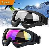 JTENG Motorrad Goggle Motocross skibrille Sportbrille Wind Staubschutz Fliegerbrille Snowboardbrille Schneebrille Skibrille Wintersport Brille Dirtbike Off-Road Schutzbrille Radsportbrille (2pcs)