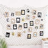 MaoXinTek Foto Hängende Fischnetz Wanddekoration Mediterranen Stil für von Bildern, Postkarten DIY Bilderrahmen Baby Shower Party Wand Dekorative 200 x 150cm (mit Holzklammern und spurlosen Nägeln)
