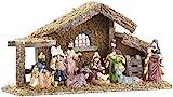 Britesta Krippe: Hochwertige Holz-Weihnachtskrippe, große handbemalte Porzellan-Figuren (Weihnachts-Krippe)